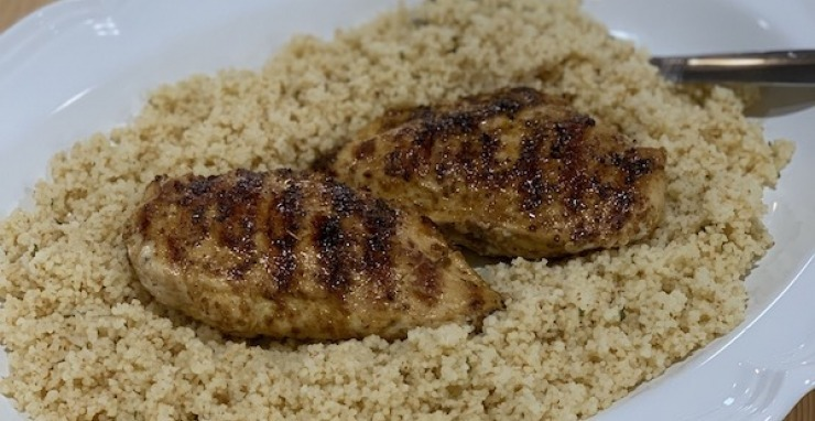 Olive Lucy Pan Grilled Flippin' Chicken with Couscous